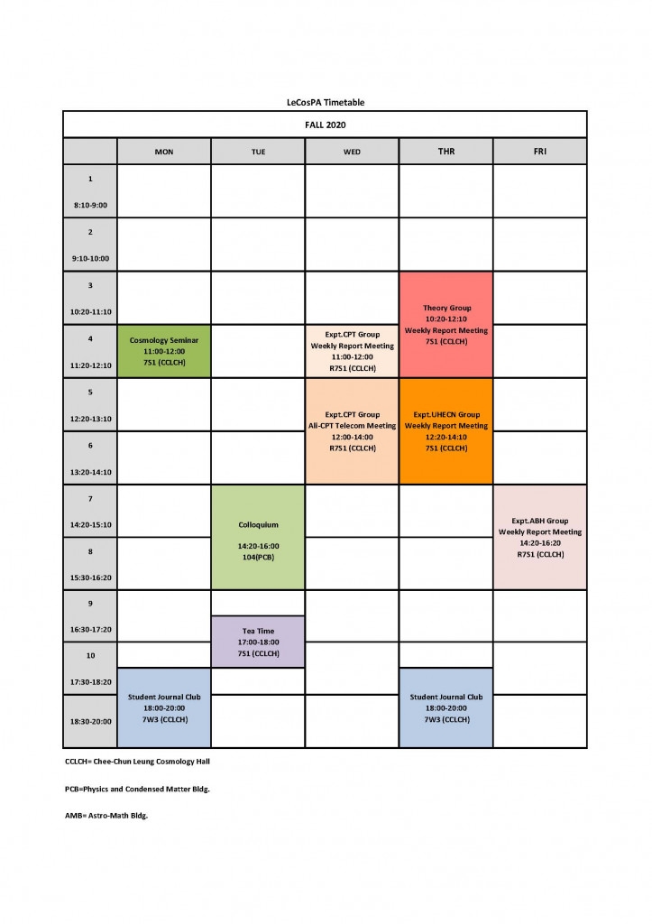 LeCosPA Timetable