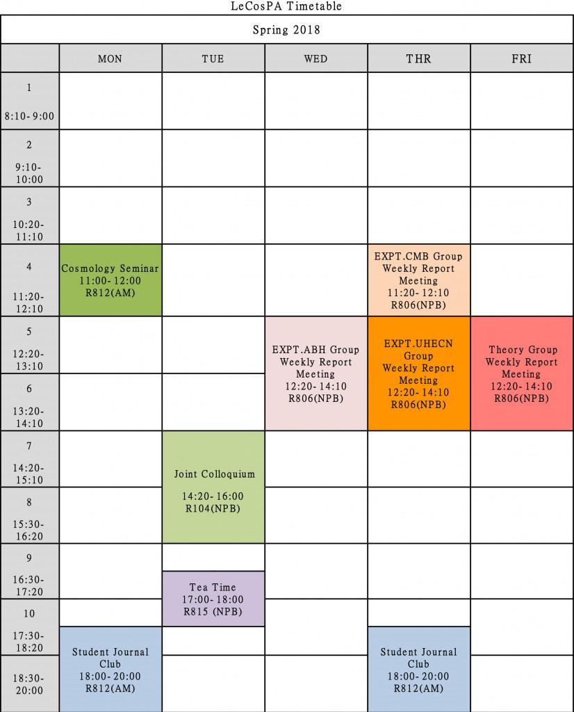 LeCosPA 2018 Timetable